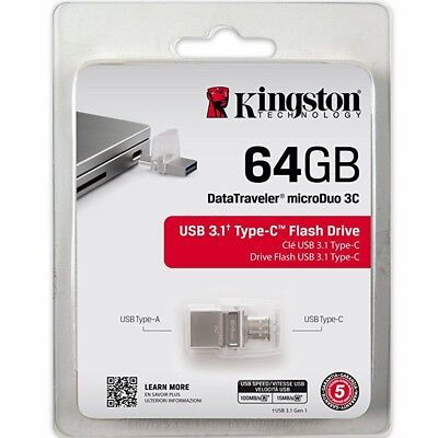 Type-C Flash Drive 64GB Kingston DataTraveler MicroDuo Dual USB 3.1 MemoryStick