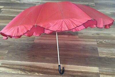 Vintage Parasol Umbrella Acetate Bamboo Like Handle Orange Rust
