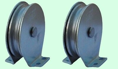 Flat Mount Wire Rope Pulley Blocks (1 pair) 525 Lb Load Cap. Zinc Plated Steel