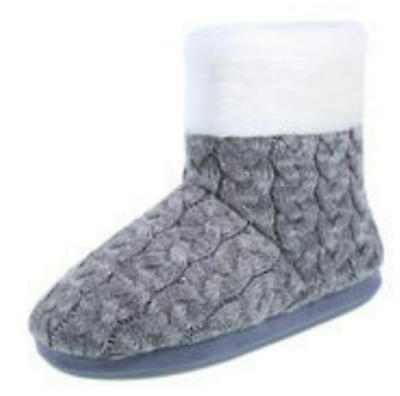 AIRWALK Womens Shoes FUR Cable Knit BOOTS Winter ANKLE BOOTIES Grey Size 8 NEW
