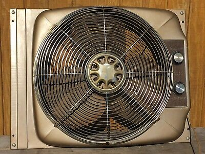 Vtg Sears Kenmore Fan 2 Speed Thermostat Industrial Expndble Window Steel Chrome