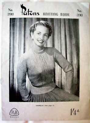 Patons Original Vintage Knitting Pattern Book 390 - LADY'S CARDIGANS & JUMPERS
