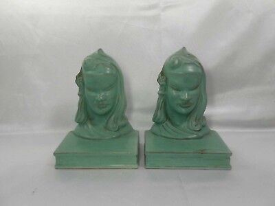 Pair Of Rare Vintage Roseville Burmese Bookends Mold # 71B