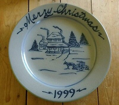 ROWE Pottery Salt Glazed 1999 Annual Christmas Holiday Plate Cambridge Wisconsin