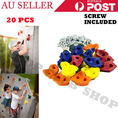 20x Textured Climbing Rock Wall Stones Holds Hand Feet Kids Gift Assorted+Screws