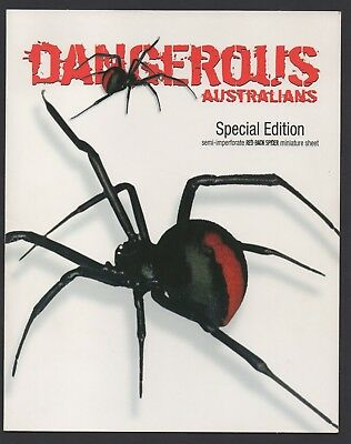 Australia Stamps 2006 Dangerous Australians Redback semi imperforate minisheet