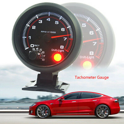 """95mm/3.75"""" Car Tachometer Tacho Gauge Meter 0-8000 RPM With Red LED Shift Light"""