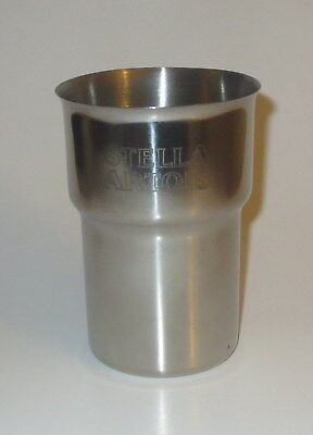 "Stella Artois Metal Cup Holds 20 Fl Ounces New 5"" High Beer"