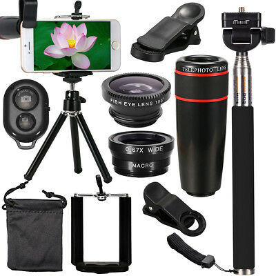 All in 1 Accessories Bundles Universal Mobile Phone Camera 12X Lens Travel Kit