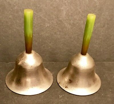 Vintage pair of Bells Red & green Bakelite Handle bell lot set Bake Lite