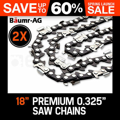 """2 X 18"""" BAUMR-AG CHAINSAW CHAIN 18in Bar Replacement Suits SX45 45cc Saws"""