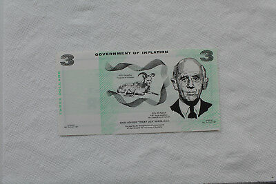 Australia Political Funny Money, 3 Dollars, in very nice condition