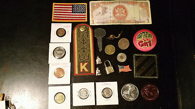 JUNK DRAWER LOT COLLECTABLE,MILITARY, VINTAGE, old,