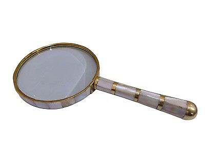 "8"" Antique Vintage Style Big Brass Magnifying Glass Mother of Pearl magnifier"