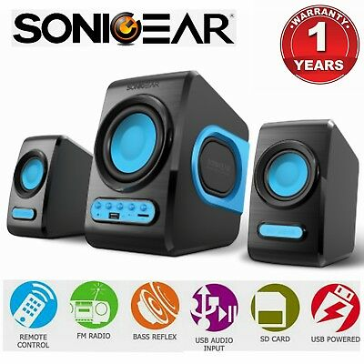Computer PC Speaker SonicGear QuatroV USB FM Radio Subwoofer 2.1 Bluetooth Blue