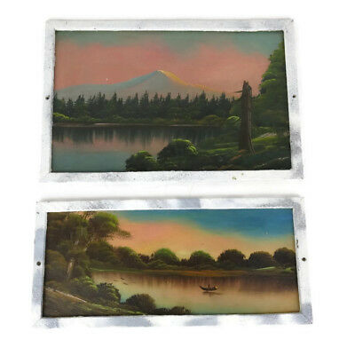 Antique Vintage Pair Oil Paintings Mountains River Blue Pink Sky Landscape