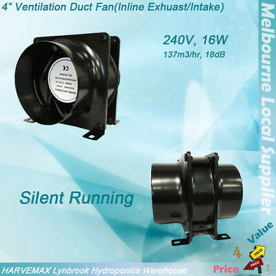 "4"" Axial Vent Fan Metal Blower Hydroponics Intake Exhaust Ventilation Silent Fan"