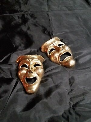 Vintage Solid Brass Comedy Tragedy Wall Masks Thespian Pair