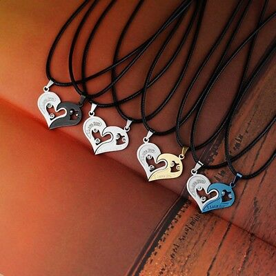 2pcs New Fashion Lover Couple Necklace I  Love You Heart-Shaped Pendant Necklace