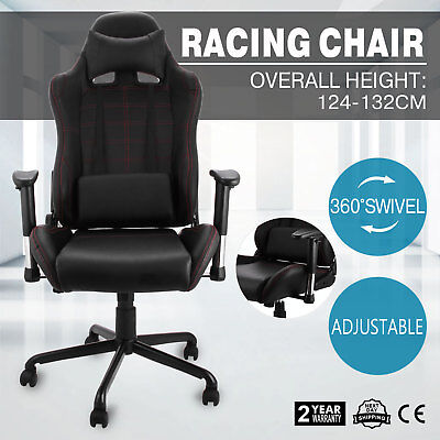 Racing Office Gaming Computer Chair PU Leather 360°Swivel Armchair Luxury