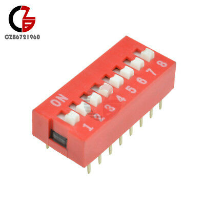 10PCS Red 2.54mm Pitch 8-Bit 8-Positions Way Slide Type DIP Switch Module NEW
