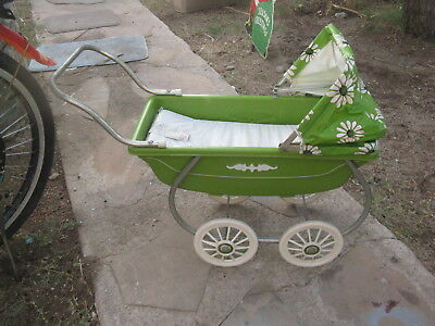 Vintage Carriage, Stroller, Buggy Green & White Baby Carriages