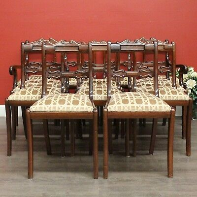 Set of 12 Vintage Antique Australian Cedar Fabric Dining Chairs incl 2 Carvers