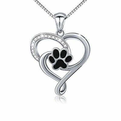❤ Valentine Mothers Day S925 Sterling Silver Puppy Dog Cat Pet Paw Print Love He