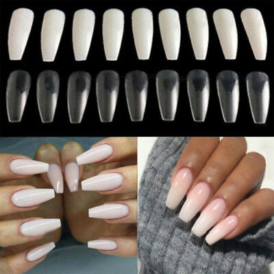 1 Box Ballerina Coffin Shape Long Fake Nail Art Tips Full Cover False Nails New