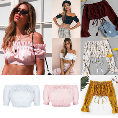 Women's Lace up Bandage Off Shoulder Long Sleeve T-Shirt Crop Tops Blouse Shirt