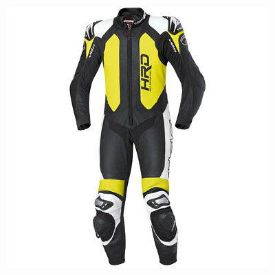 Held Slade Black / Fluo Yellow Motorcycle One Piece Leather Suit | All Sizes
