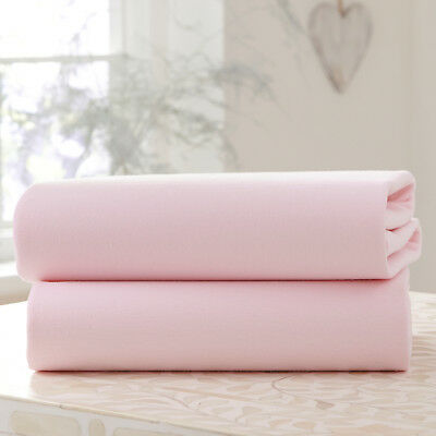 New Clair De Lune Two Pack Pink Jersey Cot Bed Flat Sheets 100% Cotton 130 X175