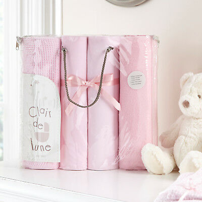 New Clair De Lune Pink Cot Bed Bedding Sheets & Blanket Gift Set Bedding Bale