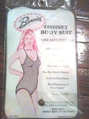 vintage Fish Net Body Suit Womens Sleeveless Plunge Camisole very rare 1960's