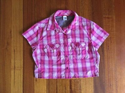 The North Face Short Sleeve Collared Shirt Pink Plaid Checkered Women's