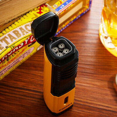 COHIBA Yellow Classic Metal Cigar Lighter Windproof 4 Torch Jet Flame