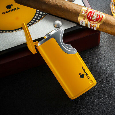 Yellow Finish Touch Induction Cigar Lighter 3 Torch Jet Flame With Punch COHIBA