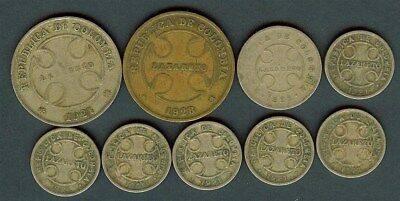 Colombia 1921 2 & 50 Centavos & 1928 50 Centavos -Leprosarium Coinage- 9 Coins