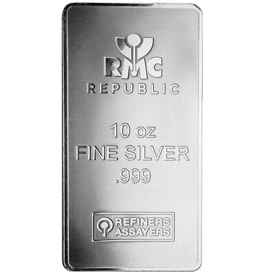 10 oz Silver Bar RMC - Minted & Frosted - Republic Metals Corp