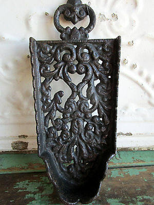 Antique Sad Iron Stand Trivet Cast Iron Ornate scrolling leaves and berries