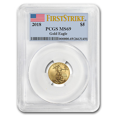 2018 1/10 oz Gold American Eagle MS-69 PCGS (First Strike)