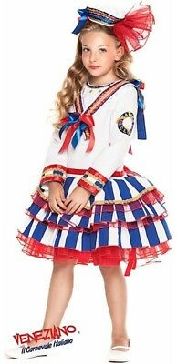 Italian Made Girls Deluxe Naval Sailor Forces Fancy Dress Costume Outfit 3-10yrs