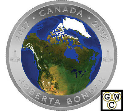 2017-$25 A View Of Canada From Space-Glow In Dark .9999Fine Silver(Nt)(17927)