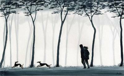6759 Dianne Heap Greyhound Whippet Lurcher Dog Painting Sky Dogs Trees Woods Man