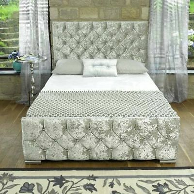 Pearl Crushed Velvet Fabric Upholstered Bed Frame 4'6 Double 5 King Size Sale On