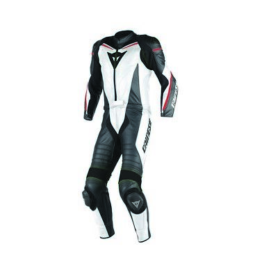 Dainese Laguna Seca D1 Mens 2-pc Leather Suit White/Black/Fluo Red