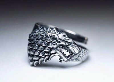 Antiqued Silver Celtic Viking Norse Ring - Stark Dire Wolf Game Of Thrones
