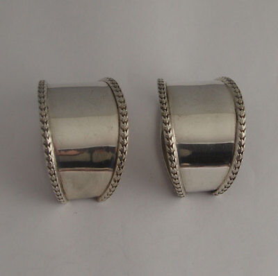 Pr Large Solid Silver Napkin RIngs - 67g - Walker & Hall Sheff. 1904
