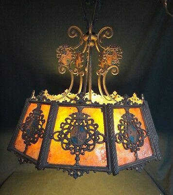 Antique Arts & Crafts Pendant Light w Mica Panels - Works - Tudor Chandelier