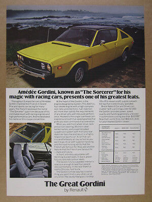 1977 Renault 17 Gordini yellow car photo vintage print Ad